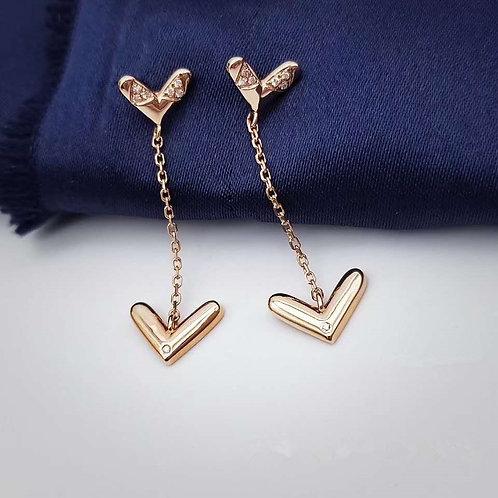 18K Solid Gold Heart Long Drop Earrings
