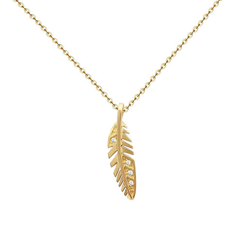Feather Pendant with Zircon in 14K Solid Gold Necklace