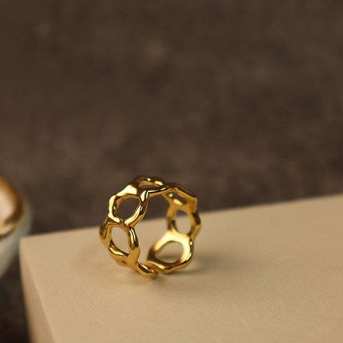 Honeycomb Ring 925 Sterling Silver