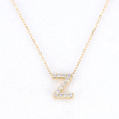Letter Pendant with Diamond in 18K Solid Gold Necklace