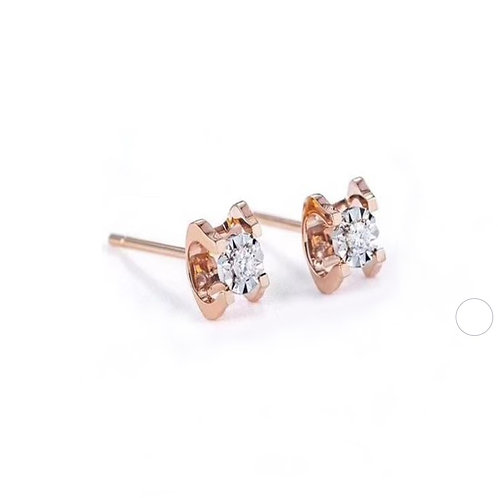 18K Real Gold Solitaire Diamond Stud Earrings