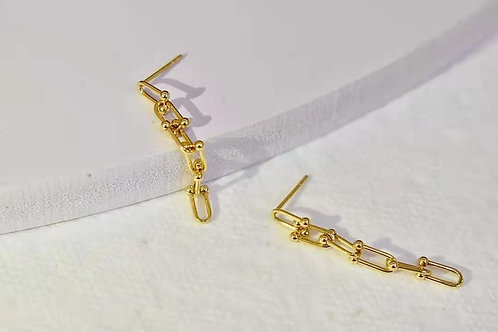 18K Solid Gold Horseshoe Long Link Chain Earrings