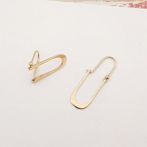 18K Solid Gold Clip Drop Earrings