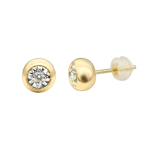 18K Solid Gold Bubble Stud with Diamond Earrings