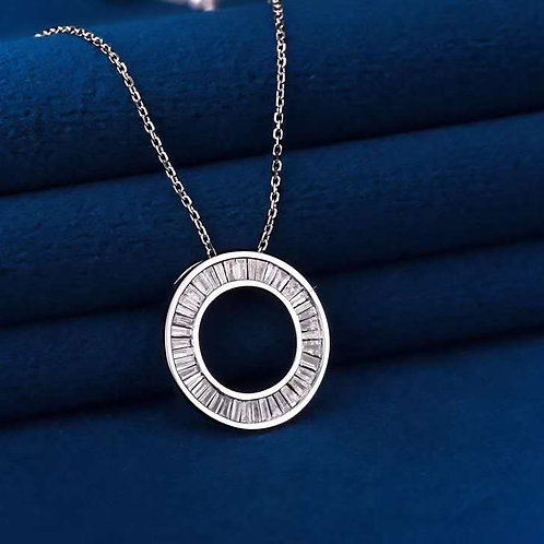 Hollow Circle Pendant with Diamond in 18K Solid Gold Necklace