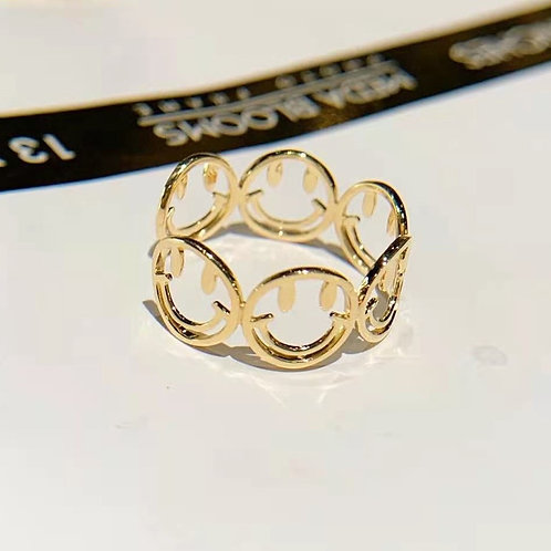 Smile Face Ring in 18K Solid Gold