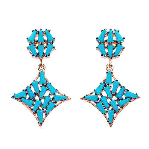 Turquoise Stone Drop Earrings 925 Sterling Silver Handmade