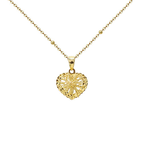 Hollow Heart Pendant in 18K Solid Gold Necklace