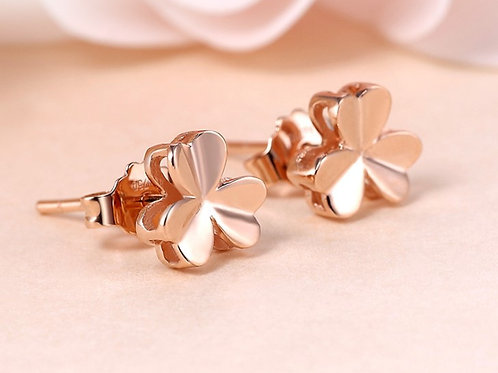 18K Solid Gold 3 Leaf Clover Stud Earrings