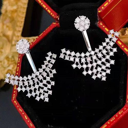18K Solid Gold Long Luxurious 1ct Diamond Earrings