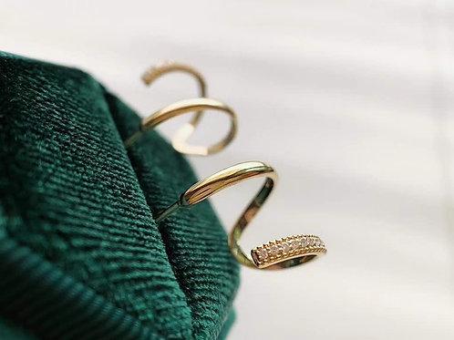 18K Solid SpiralShape with Natural Diamond Hoop Earrings