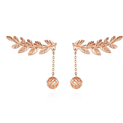 18K Solid Gold Wing-shaped Earrings