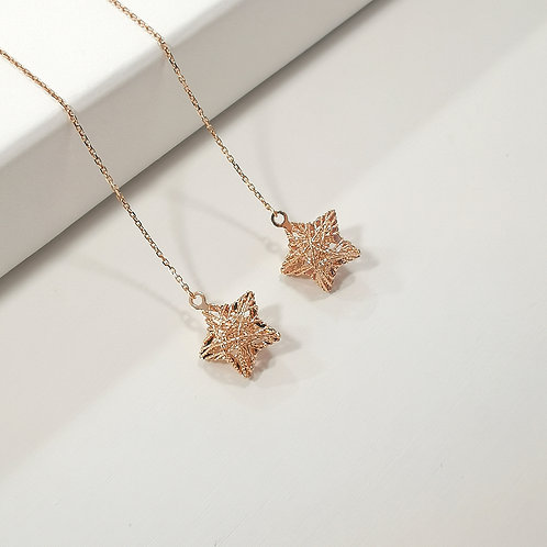 18K Solid Gold Star Shape Drop Earrings