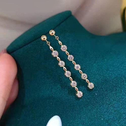 18K Solid Gold Long Tassel Diamond Drop Earrings