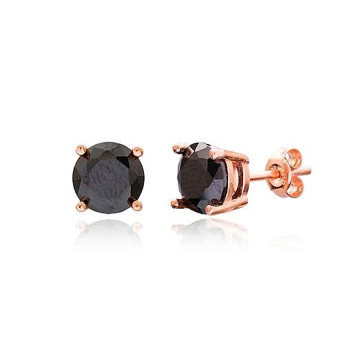 Black Zircon Solitaire 925 Sterling Silver Handmade Earrings