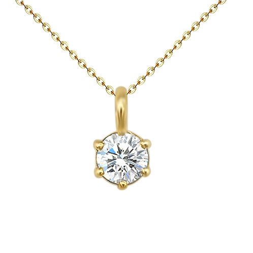 Solitaire Diamond Pendant in18K Real Gold Necklace