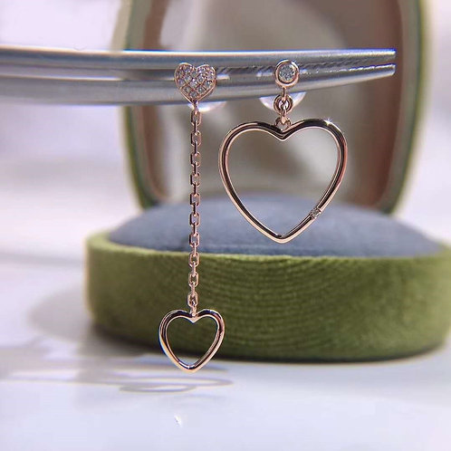 18K Real Gold Asymetric Heart with Diamond Drop Earrings