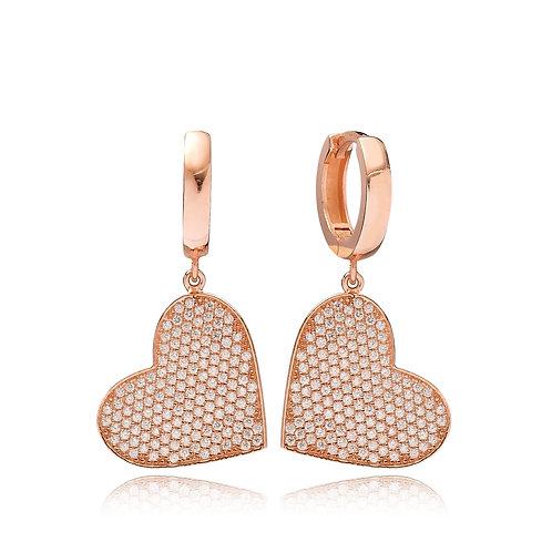 Heart Dangle Earrings 925 Sterling Silver Handmade
