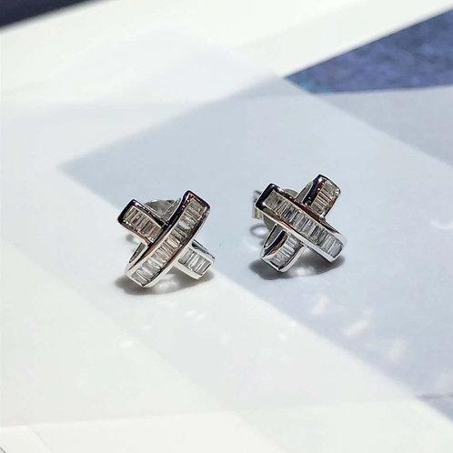 18K Solid Gold Cross Stud Earrings