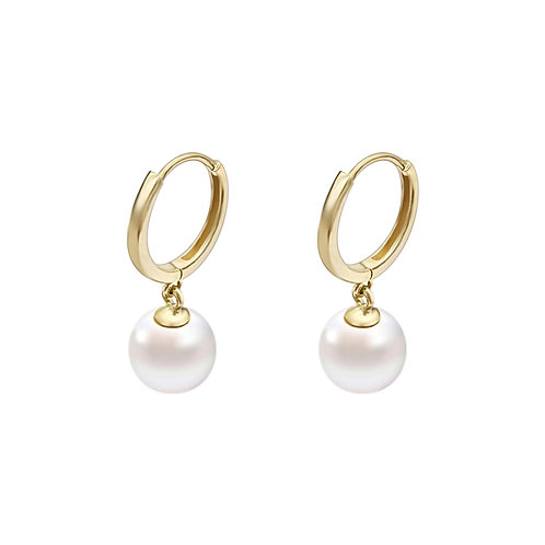 18K  Real Gold Hoop Earrings with Freshwater Pearl
