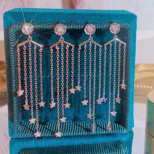 18K Solid Gold Falling Stars Diamond Drop Earrings