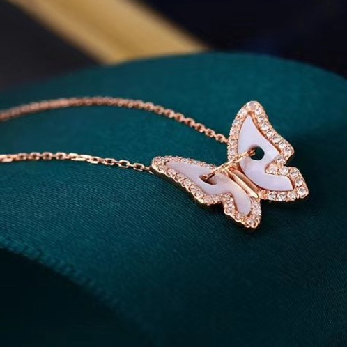 Butterfly Shape Pendant with Diamond in 18K Solid Gold Choker Necklace