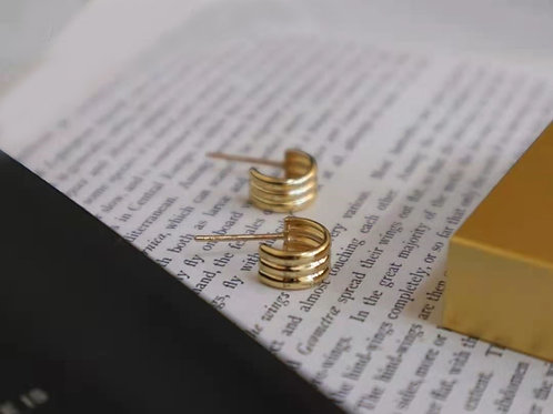 18K Solid Gold Minimalist Hoop Earrings