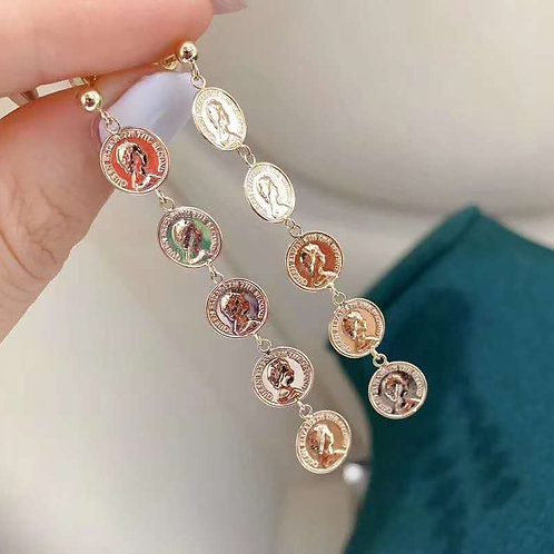 18K Solid Gold Coin Shape Drop Earrings