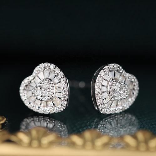 18K Solid Gold Heart Shape Natural Diamond Drop Earrings