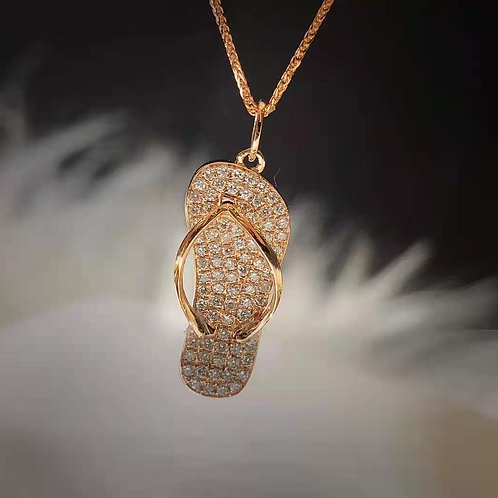 Slipper Pendant with Natural Diamond in 18K Solid Gold Necklace