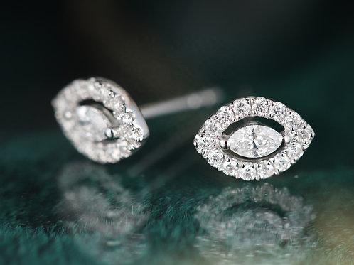 18K Solid Gold Angel's Eye Natural Diamond Stud Earrings