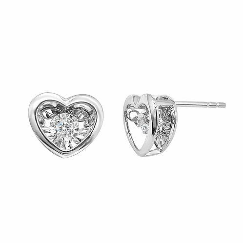18K Real Gold Dancing Heart Diamond Earrings