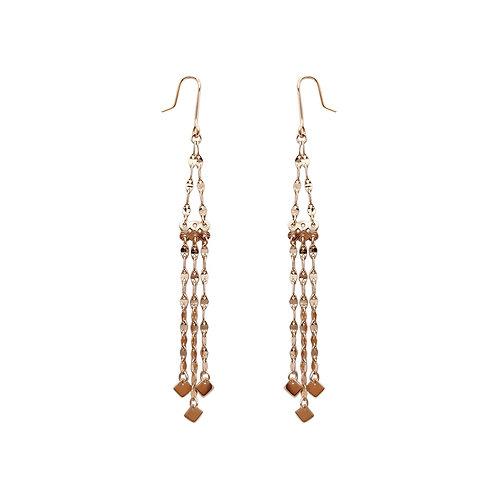 18K Solid Gold Tassel Drop Earrings