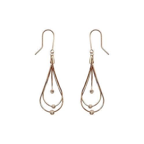 18K Real Gold Teardrop Earrings