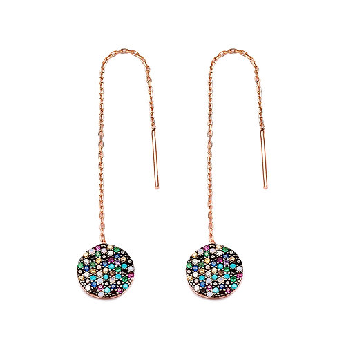 Mix Stone Round Thread Earrings 925 Sterling Silver Handmade