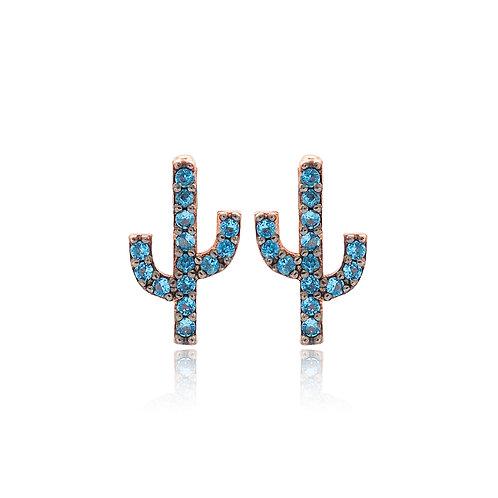 Blue Stone Cactus Stud Earrings 925 Sterling Silver Handmade