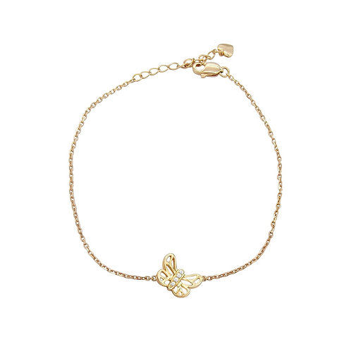18K Solid Gold Butterfly Shape Bracelet with Diamond