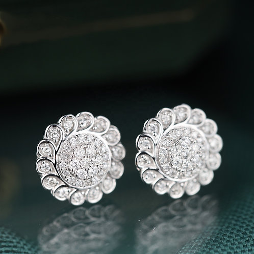 18K Solid Gold Flower Shape Natural Diamond Drop Earrings