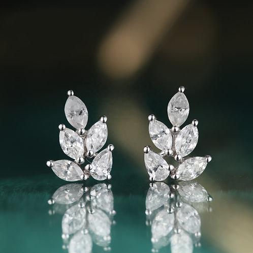18K Solid Gold Leaf Shape Natural Diamond Drop Earrings
