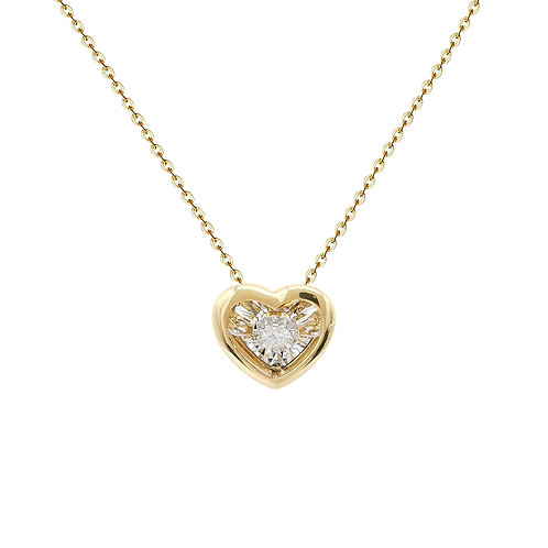 'Dancing' Heart Shape Diamond Pendant in 18K Solid Gold Necklace