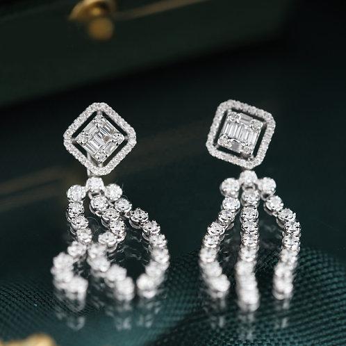 18K Solid Gold Square Shape Natural Diamond Tassel Earrings
