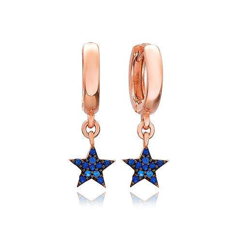 Sapphire Stone Star Earrings 925 Sterling Silver Handmade