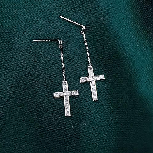 18K Solid Gold Cross Diamond Drop Earrings