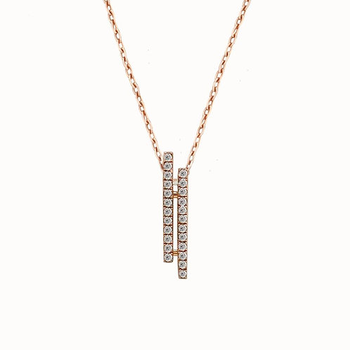 Double Vertical Bar Natural Diamond Pendant in 18K Solid Gold Necklace