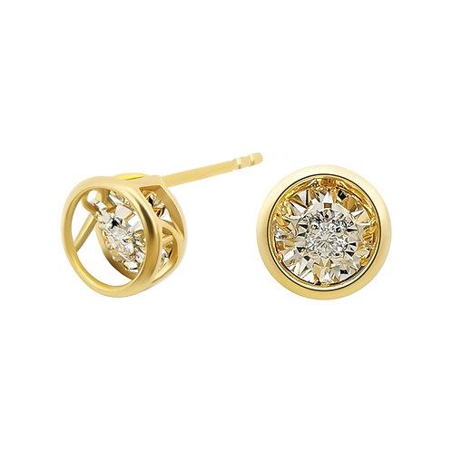 18K Solid Gold Dancing Diamond Circle Stud Earrings