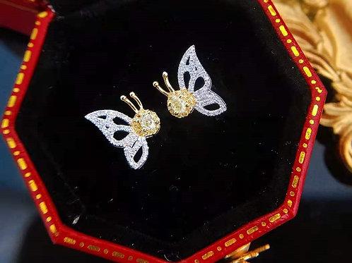 18K Solid Gold Butterfly Stud Earrings