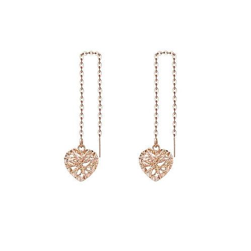 18K Solid Gold Heart Drop Earrings