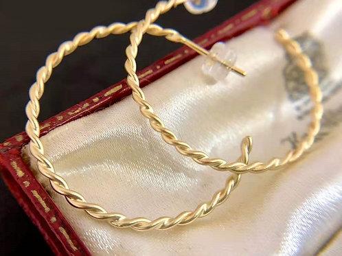 18K Solid Gold Hemp Rope Hoop Earrings
