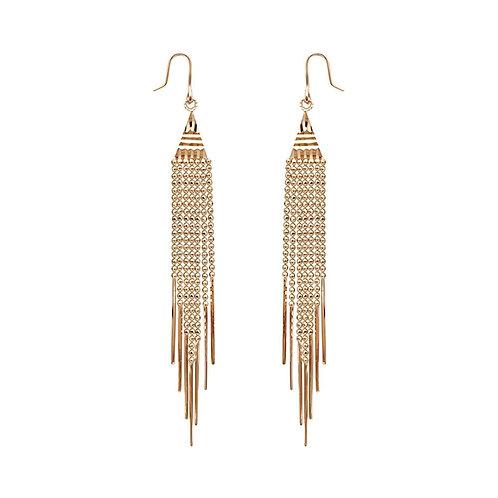 18K Solid Gold Bohemian Tassel Drop Earrings