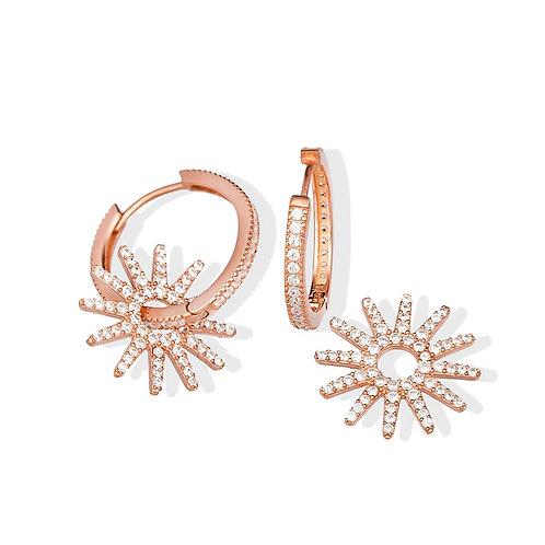 Star Shape 925 Sterling Silver Handmade Hoop Earrings